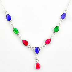 14.88cts natural blue sapphire ruby emerald 925 sterling silver necklace r14420
