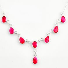 15.11cts natural red ruby 925 sterling silver necklace jewelry r14421
