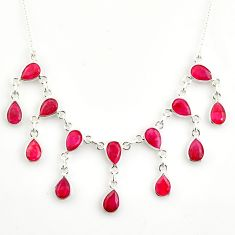20.23cts natural red ruby 925 sterling silver necklace jewelry r14424