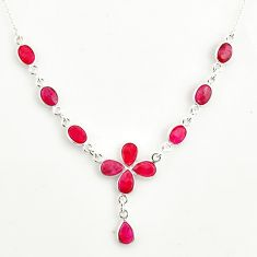 16.17cts natural red ruby 925 sterling silver necklace jewelry r14427