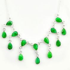 925 sterling silver 20.54cts natural green emerald pear necklace jewelry r14429