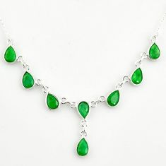 925 sterling silver 14.12cts natural green emerald pear necklace jewelry r14431