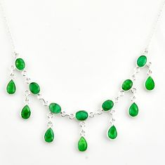 21.76cts natural green emerald 925 sterling silver necklace jewelry r14432