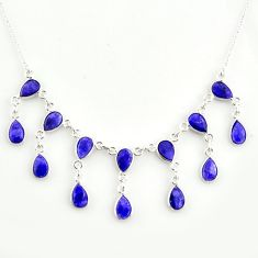 925 sterling silver 20.54cts natural blue sapphire necklace jewelry r14434