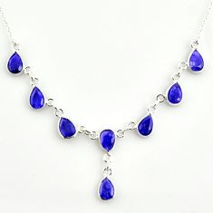 15.16cts natural blue sapphire 925 sterling silver necklace jewelry r14436
