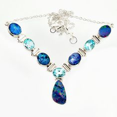 925 silver 27.39cts natural blue doublet opal australian topaz necklace r14604