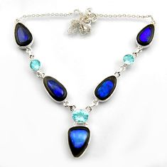 35.17cts natural blue doublet opal australian topaz 925 silver necklace r14606