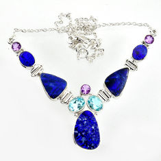 34.82cts natural blue doublet opal australian topaz 925 silver necklace r14607