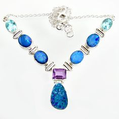 32.35cts natural blue doublet opal australian topaz 925 silver necklace r14610