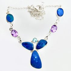 30.07cts natural blue doublet opal australian 925 silver necklace r14611