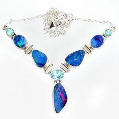 925 silver 30.07cts natural blue doublet opal australian topaz necklace r14612