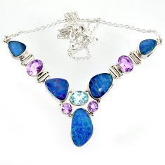 33.78cts natural blue doublet opal australian topaz 925 silver necklace r14614