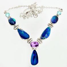25.86cts natural blue doublet opal australian topaz 925 silver necklace r14615