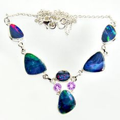 30.41cts natural blue doublet opal australian 925 silver necklace r14616
