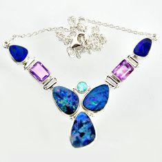 29.55cts natural blue doublet opal australian topaz 925 silver necklace r14618