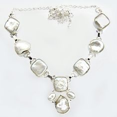 925 sterling silver 45.06cts natural white pearl fancy necklace jewelry r14620
