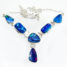 32.11cts natural blue doublet opal australian 925 silver necklace r14624