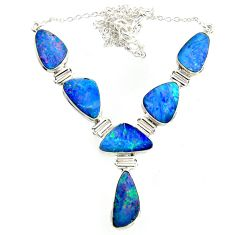 925 silver 34.05cts natural blue doublet opal australian fancy necklace r14626