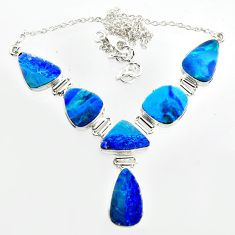 35.51cts natural blue doublet opal australian 925 silver necklace r14627