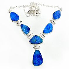 32.08cts natural blue doublet opal australian 925 silver necklace r14631