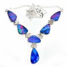 925 silver 31.77cts natural blue doublet opal australian fancy necklace r14632