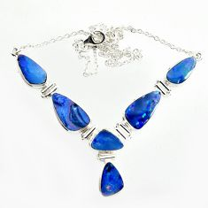 29.22cts natural blue doublet opal australian 925 silver necklace r14633