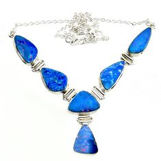 32.74cts natural blue doublet opal australian 925 silver necklace r14636
