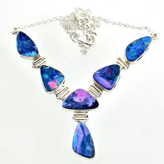31.15cts natural blue doublet opal australian 925 silver necklace r14637