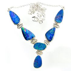 925 silver 33.81cts natural blue doublet opal australian fancy necklace r14638