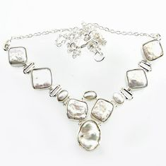 36.16cts natural white pearl 925 sterling silver necklace jewelry r14640