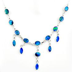 31.82cts natural blue doublet opal australian 925 silver necklace r14643