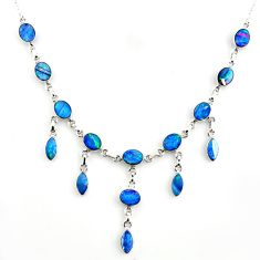 31.82cts natural blue doublet opal australian 925 silver necklace r14646