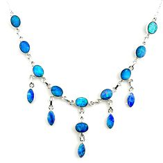 31.82cts natural blue doublet opal australian 925 silver necklace r14650