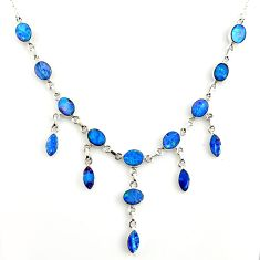 925 silver 32.11cts natural blue doublet opal australian oval necklace r14651