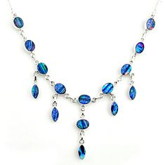 31.79cts natural blue doublet opal australian 925 silver necklace r14653