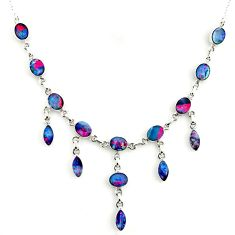 31.82cts natural blue doublet opal australian 925 silver necklace r14654