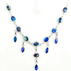 30.72cts natural blue doublet opal australian 925 silver necklace r14658