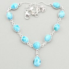 34.94cts natural blue larimar 925 sterling silver necklace jewelry t19481