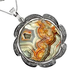 30.02cts vintage diamond mexican laguna lace agate 925 silver necklace v1958