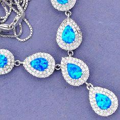 AMAZING BLUE AUSTRALIAN FIRE OPAL TOPAZ PEAR 925 STERLING SILVER NECKLACE H42742