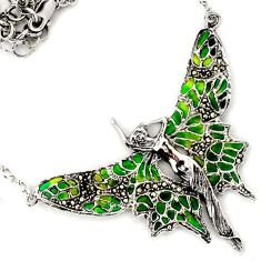 ANGEL FAIRY WINGS MARCASITE GREEN ENAMEL 925 STERLING SILVER NECKLACE H20769