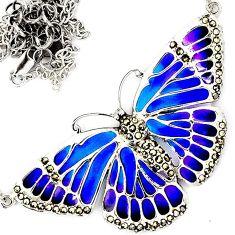 ART DECO MARCASITE BLUE PURPLE ENAMEL 925 SILVER BUTTERFLY CHAIN NECKLACE H29955