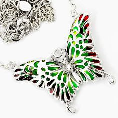 AWESOME MULTI COLOR ENAMEL ENAMEL 925 SILVER NECKLACE CHAIN JEWELRY H32150