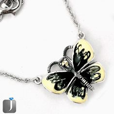 BLACK ENAMEL BUTTERFLY CHARM MARCASITE 925 SILVER NECKLACE CHAIN JEWELRY G44847
