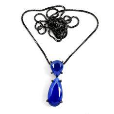 8.80cts black rhodium blue sapphire (lab) pear shape 925 silver necklace c3467