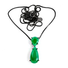 8.80cts black rhodium green emerald (lab) 925 sterling silver necklace c3465