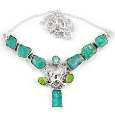 Blue apatite rough peridot 925 sterling silver love bird necklace jewelry j10301