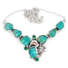 Blue apatite rough russian nano emerald 925 silver angel wings necklace j10304