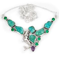 Blue apatite rough russian nano emerald 925 silver mermaid necklace j10302