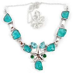Blue apatite rough russian nano emerald 925 silver star fish necklace j10303